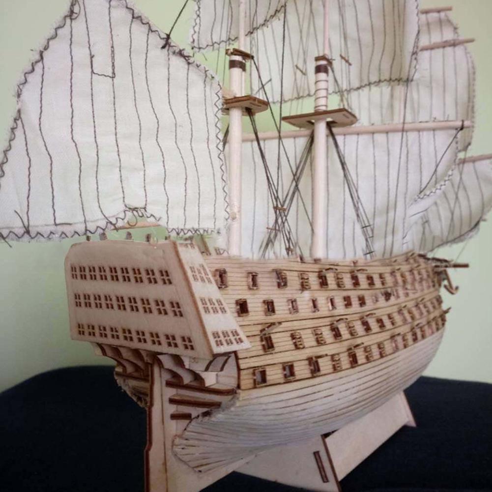 Kuulee DIY Wood Assembled Victory Royal Navy Ship Sailboat Modeling Toy Decoration